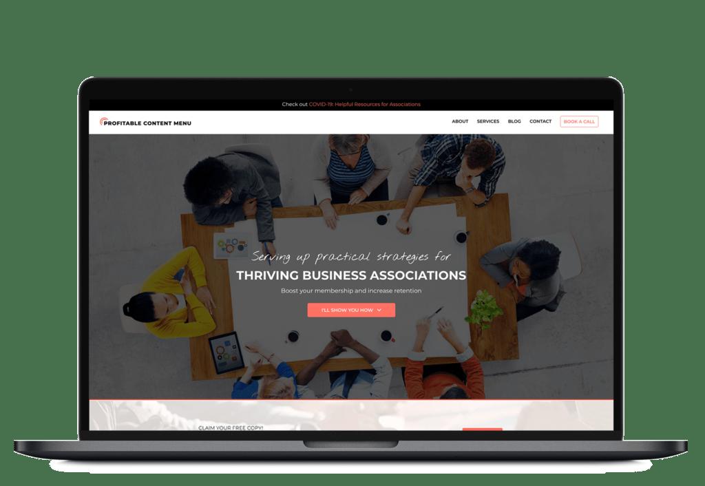 Profitable Content Menu website on a laptop